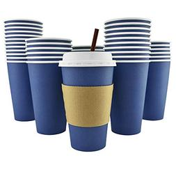 100 Pack - 16 Oz   Disposable Hot Paper Coffee Cups, Lids, S