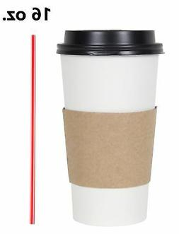 100 Set 16 Oz. Disposable Hot Tea Paper Coffee Cups With Lid