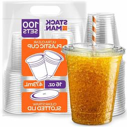 Clear Plastic Cups with Straw Slot Lid, PET Crystal Clear