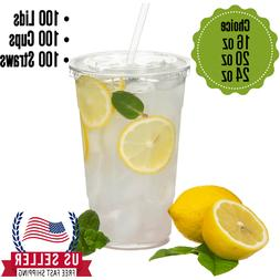 [100 Sets}-Disposable Clear Plastic to go Cups with Flat Lid