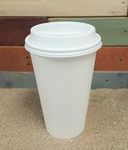 100 Sets 16 oz Paper Coffee Cup Solo Disposable White Hot Cu