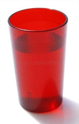 12 PACk Red Restaurant Break Resistant Drinking Glass Cups P