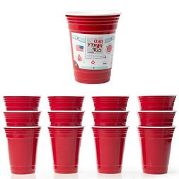 12pk Trudeau Red Party Cups 16 oz Plastic Reusable Insulated