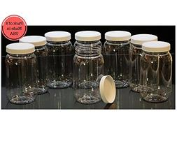 16 Oz Plastic Jars with lids, wide mouth, Bulk Pack of 8, Cl
