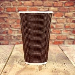 16 oz Paper Coffee Cups - Brown Tweed Double Wall - Disposab