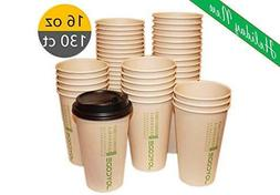 16OZ Disposables Hot  Paper Coffee 100% Bamboo Fiber Cups-Wi