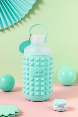 16oz Glass Water Bottle With Fancy Spiky Silicone Sleeve aut