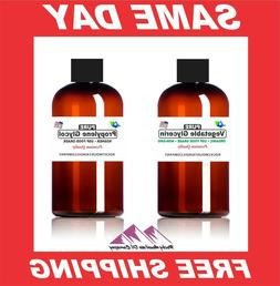 2 -16 oz VEGETABLE GLYCERIN + PROPYLENE GLYCOL FOOD GRADE PG