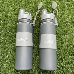 2 LeEco Rubber Water Bottle 16Oz Silicone BPA Free With Wate