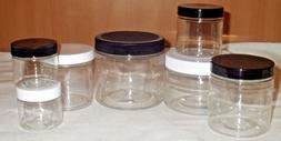 2 to16 oz Clear Round Wide-Mouth Plastic Jars w/ Cap U-Pick
