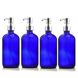 4 pack 500ml Refillable Blue Glass Pump Bottle w/ Stainless