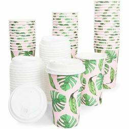 48x 16oz Hot Beverage Disposable Paper Coffee Cups with Lids