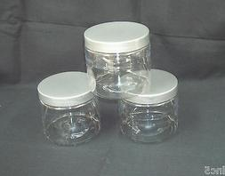 4oz to 16 oz  Clear PET Straight Sided Plastic  Jars w/Smoot