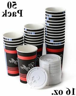 50 Pack 16 Oz. Disposable Poly Paper Hot Tea Coffee Cups wit