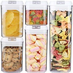 Airtight Food Storage Container Set of 5  for Cereal, Coffee