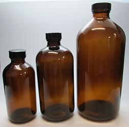 16 oz Amber Glass Bottle with Black Cap for Essential Oils