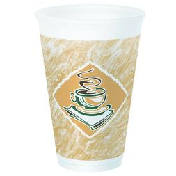 """Dart 16X16G Cafe G Accents Printed Foam Cup, 16 oz, 3.6"""" Top"""