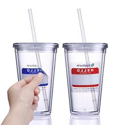 Cupture dcc16-2 Classic Cup Straw Tumbler, 16 oz, Clear
