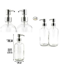16oz Clear Glass Boston Round Bottles with Stainless Steel P