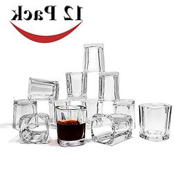 Jalousie 12 Pack clear glass 2 Ounces 2.4 inch Tall Shot Gla