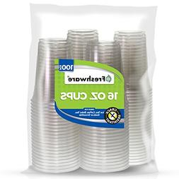 Freshware Clear Plastic Cups: 100-pcs Disposable Transparent
