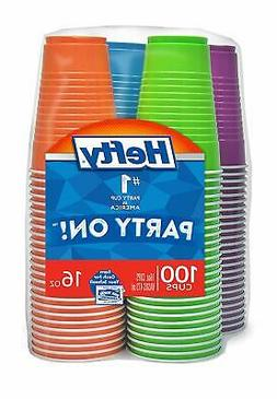 Hefty Disposable Plastic Cups in Assorted Colors - 16 Ounce,