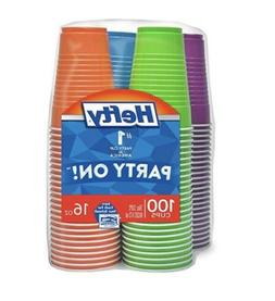 Hefty Disposable Plastic Cups in Assorted Colors -16 Ounce,