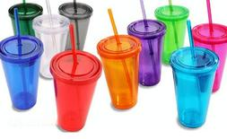Double-Wall Plastic Tumblers with Lids 16 oz. assorted color