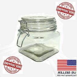 Hinged Lid Clamp Airtight Sealed Jar Food Storage Canister G