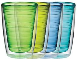 Insulated 16-Ounce Plastic Tumblers, Marine Collection Set o