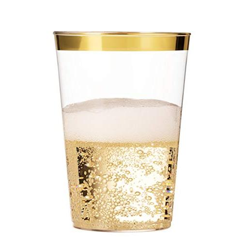 100 Gold Plastic Cups 16 Cups Cups Disposable Cups Elegant