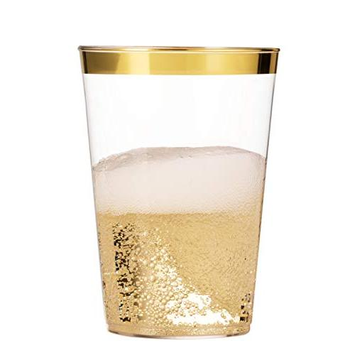 100 Gold 16 Oz Plastic Cups Cups Fancy Disposable Cups Party Cups with Gold Rim