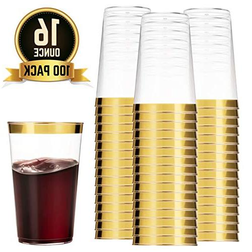 100 gold plastic cups clear
