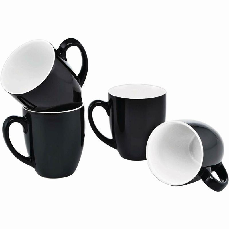 Culver 16-Ounce Bistro Ceramic Mug, Black, Set Of 4