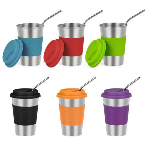 Set of 6 Stainless Steel Cups With Lids and Straws 16oz/500m