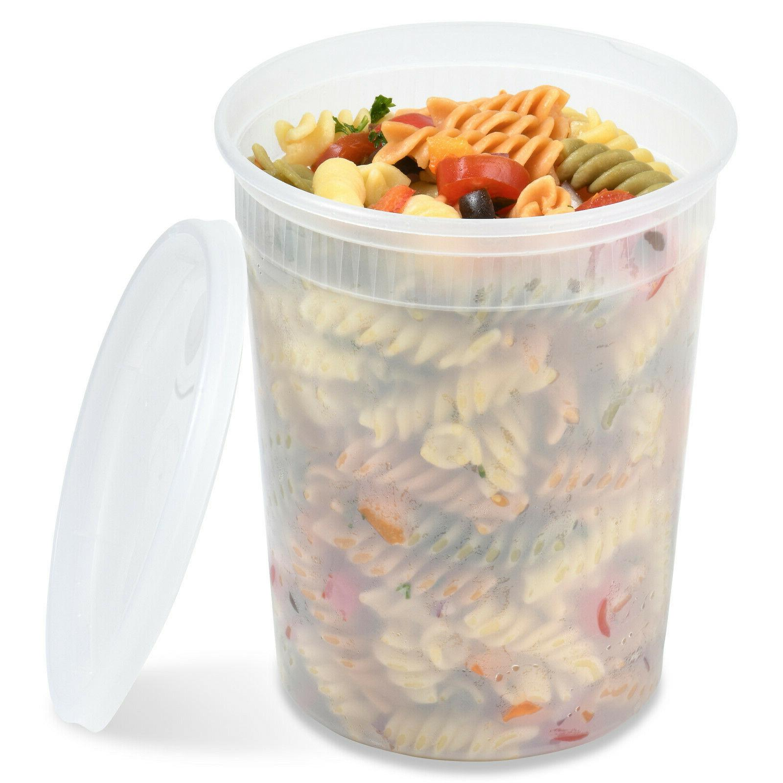 16 or 32 oz Heavy Plastic Deli/Soup Containers with Lids, Made