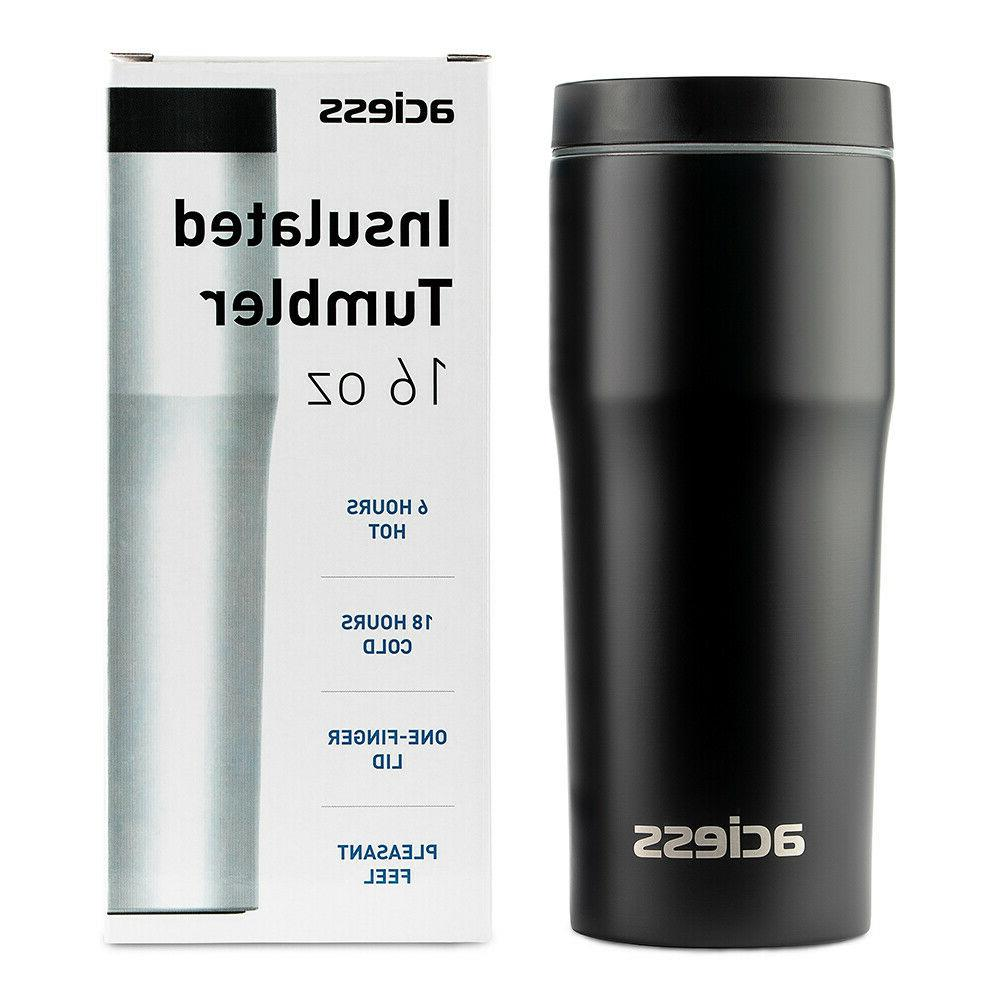 16 Travel Tumbler Stainless Black Cup Double Mug