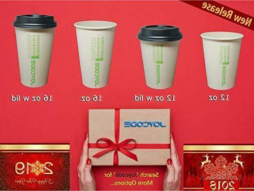 16OZ Paper Coffee Bamboo Fiber Cups-With lids 130 Counts