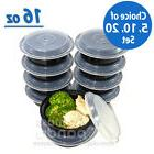 """16oz Meal Prep 6"""" Round Food Containers with Lids, Microwava"""