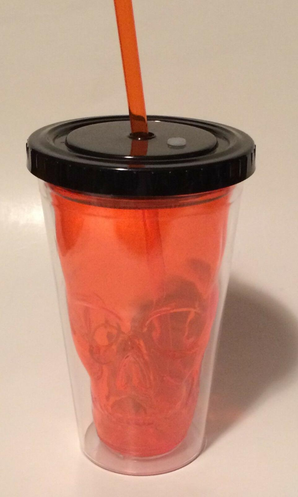 16oz. Orange Plastic Skull Drinking Tumbler With Light Up LE