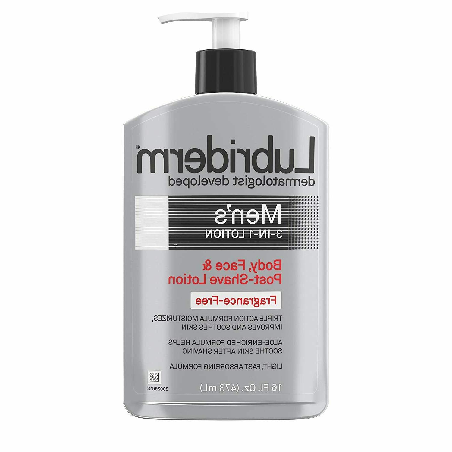 Lubriderm Men's 3-In-1 Unscented Lotion Enriched with Soothi