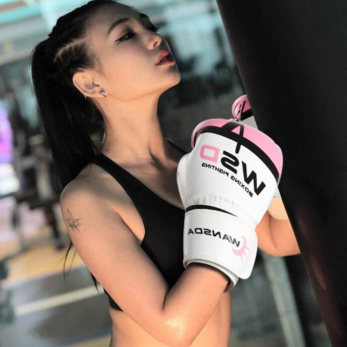 Adults Boxing Muay Thai Boxe Luva Sanda 10 12 14 <font><b>16</b></font> <font><b>OZ</b></font> pink glove