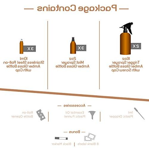 Duracare Amber Glass Bottles w/Screw Cap, 3 Sprayers, 3 Steel Roller w/Labels Washable and