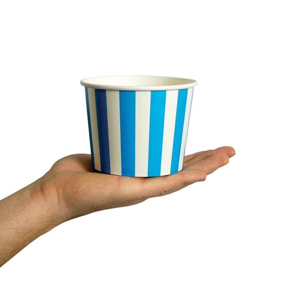 Blue Cups Striped Disposable Birthday Cups