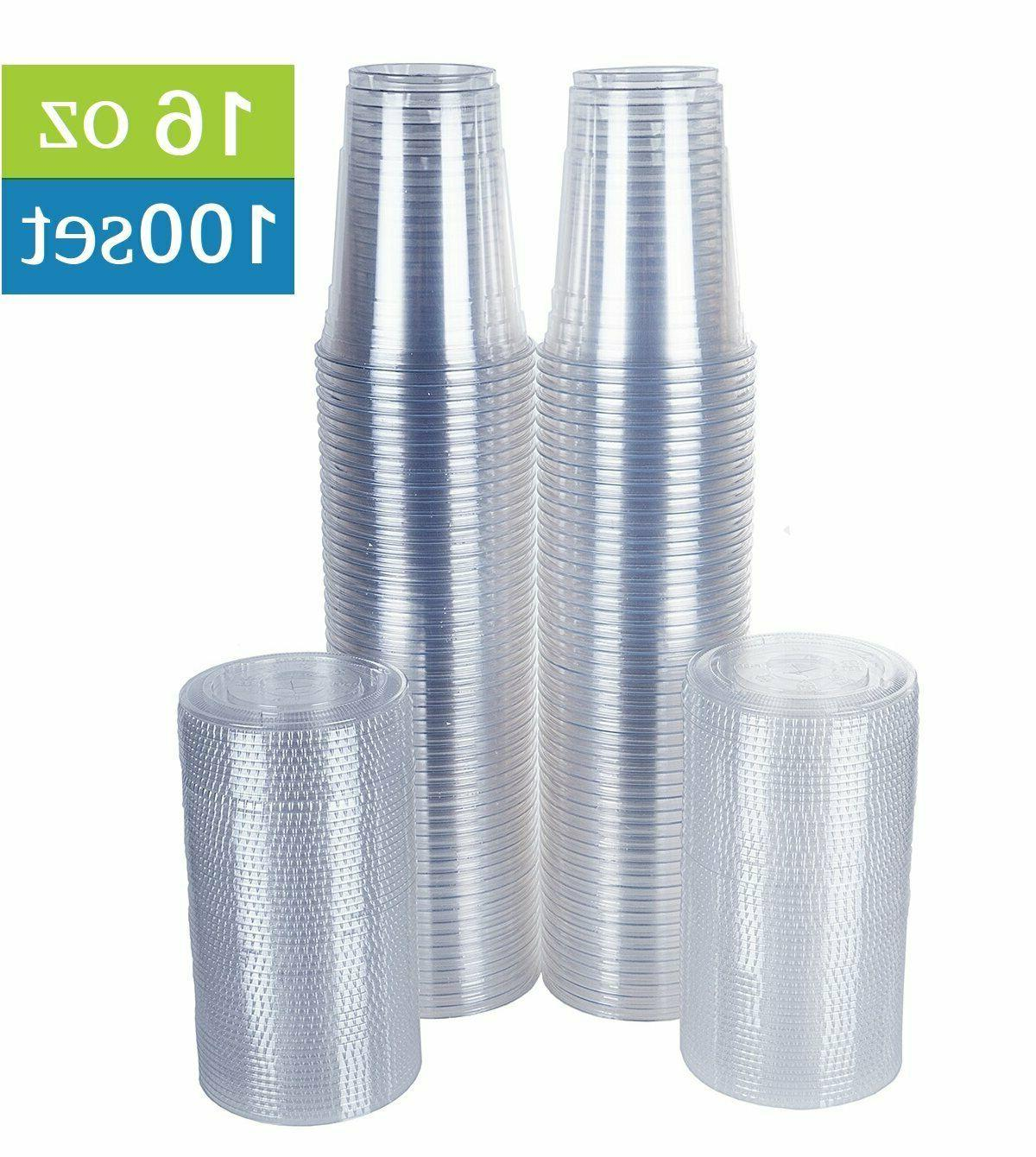 Clear Plastic Cups with Flat Lids 100 Count 16 Ounce Disposa