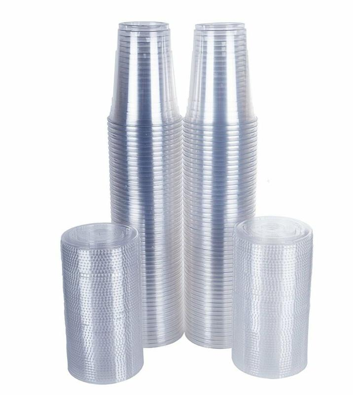 Tashibox Disposable Plastic Cups With Flat Lids Sets, Crystal