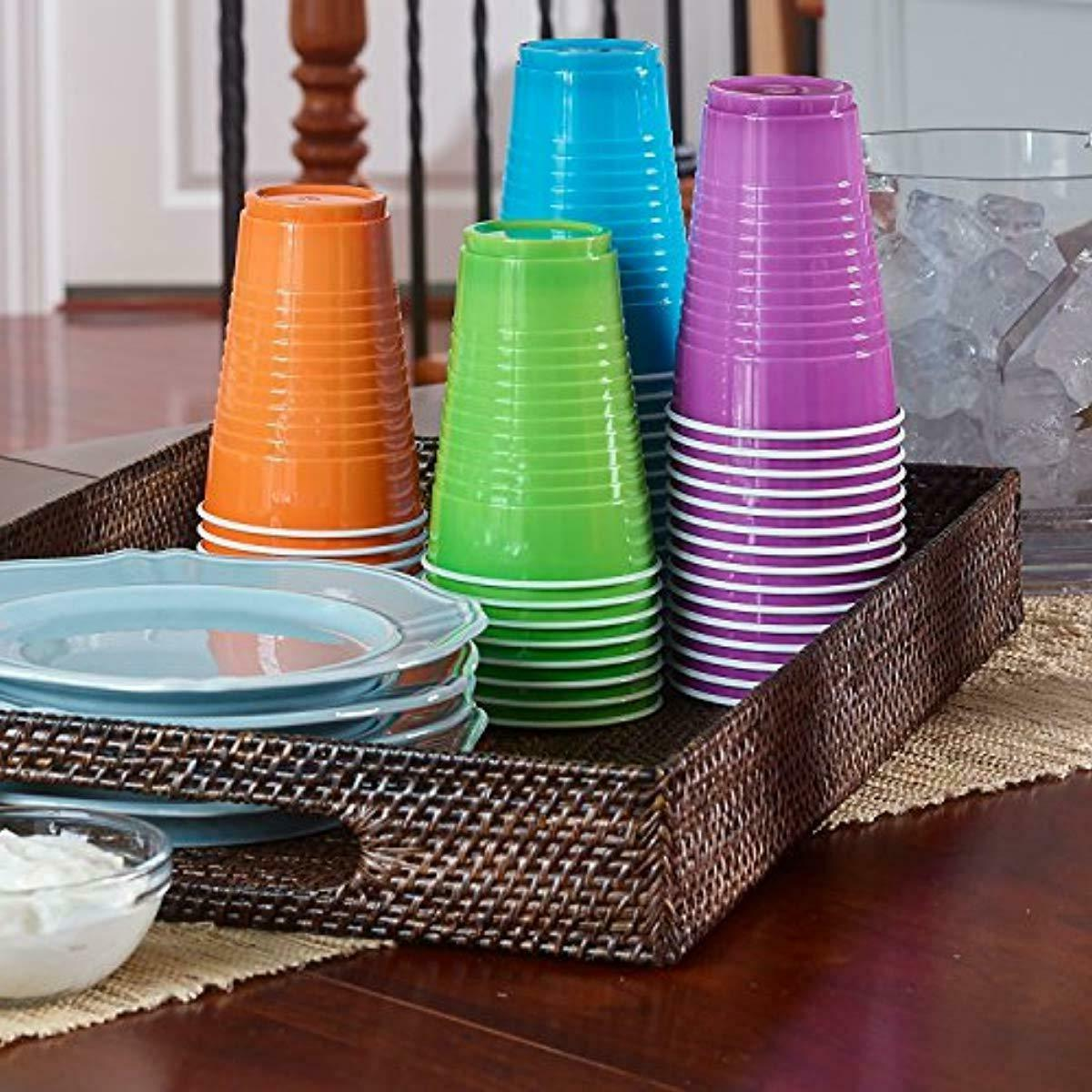 disposable plastic cups in assorted colors 16