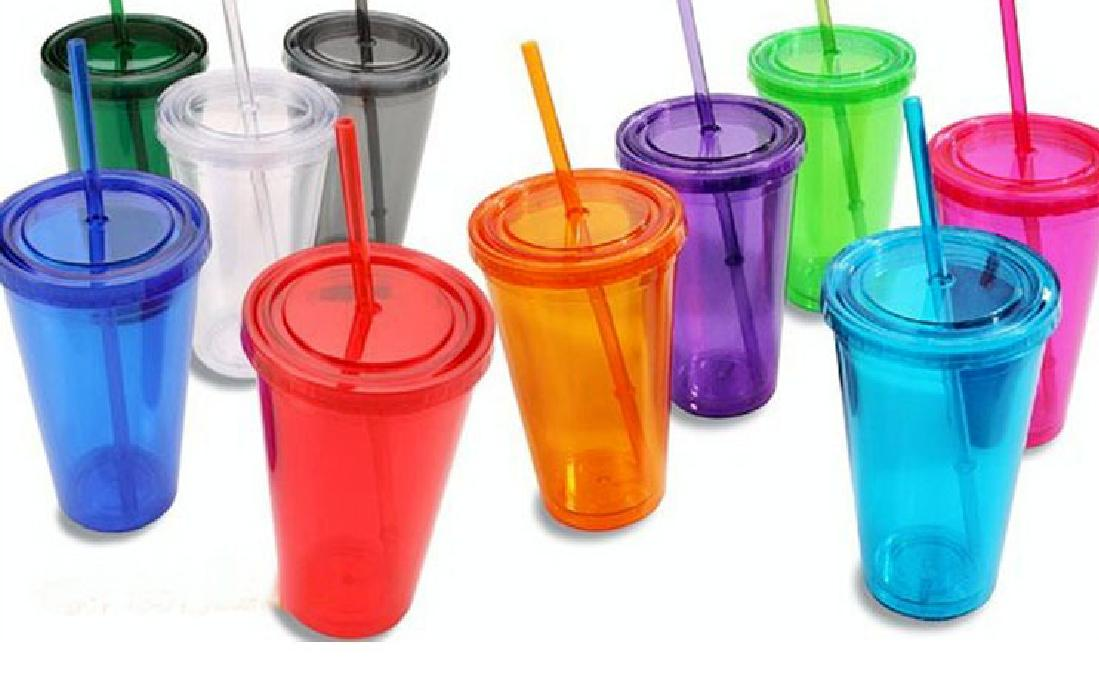 double wall plastic tumblers with lids 16