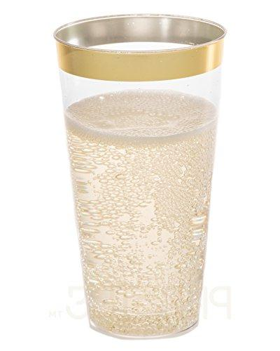 DRINKET Gold 16 Cups / Fancy Plastic Wedding Cups Gold Rim 50 Ct Disposable For Holiday and PACK