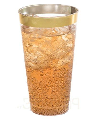 16 oz Plastic Cups Plastic With Gold Disposable For and PACK